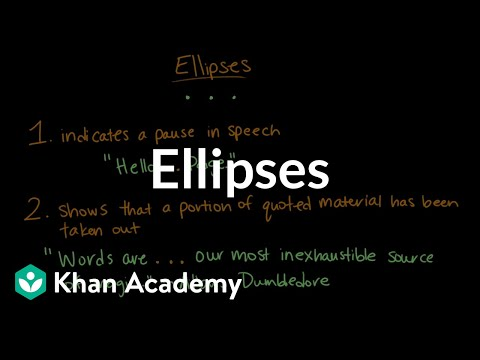 Ellipses | Punctuation | Khan Academy