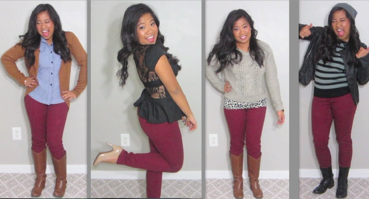 4 Ways to Wear Maroon Pants! - YouTube