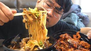 리얼먹방:) 비오는기념 차돌박이 짬뽕+깐풍기 먹방,  …