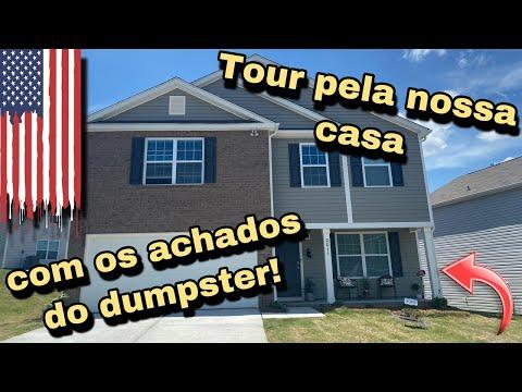 TOUR PELA NOSSA CASA COM OS ACHADOS DOS DUMPSTERS DOS ESTADOS UNIDOS!🇺🇸🇺🇸🇺🇸