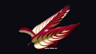Repeat youtube video How To Make Apple Bird Swan - Beginners Lesson 16 By Mutita Art Of Fruit And Vegetable Carving