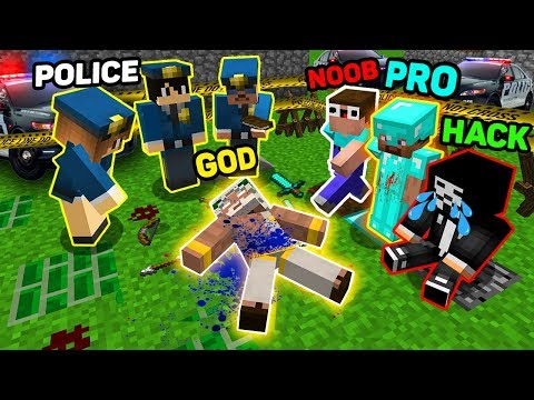 Minecraft NOOB vs PRO vs HACKER vs GOD : MURDER INVESTIGATION OF A POLICE! WHO KILLED GOD? MINECRAFT thumbnail