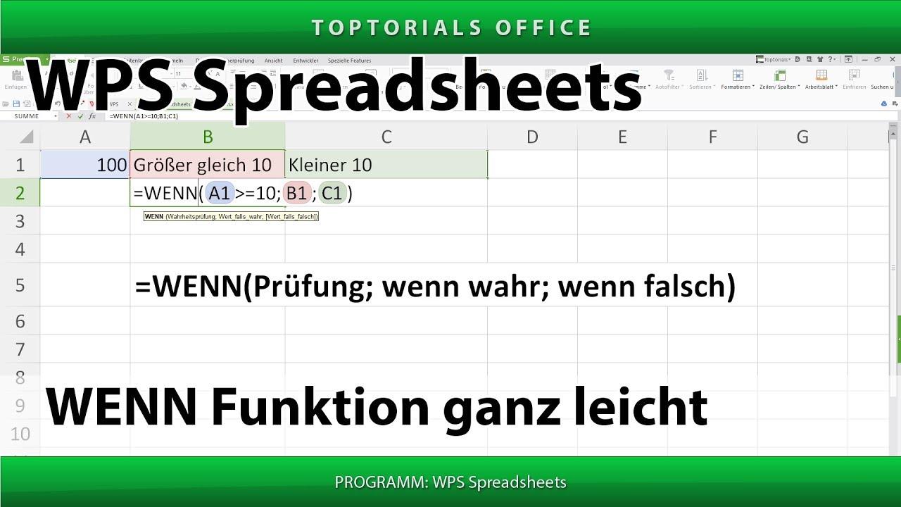 Wenn Funktion (WPS Spreadsheets) - YouTube