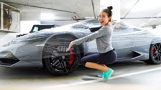 WRAPPING HIS LAMBORGHINI PRANK!!