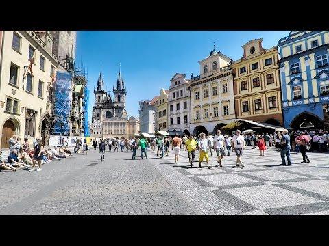 Prague. Walk from the Castle to the Astronomical Clock Through Charles Bridge. Czech Republic