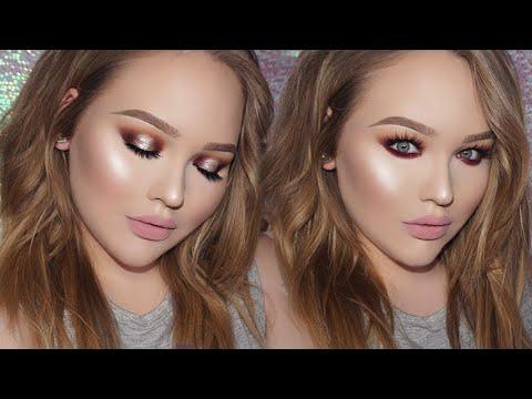SEXY Warm-Toned Sparkly Smokey Eyes + GLOWY Skin Makeup