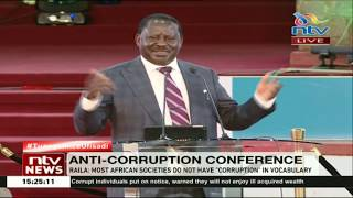 Raila: Most African societies do not have corruption in vocabulary
