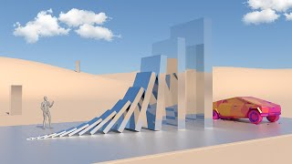 Glass Domino Effect Vs Cybertruck [Metal Monolith] - Oddly Satisfying