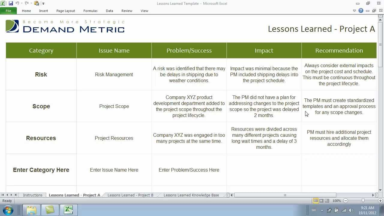 Lessons learned template youtube for Project management lessons learnt template