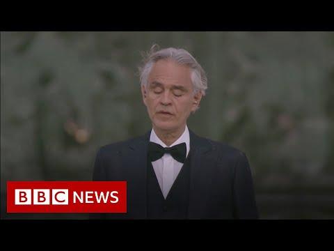 Coronavirus: Italian tenor Bocelli sings at Milan's empty cathedral - BBC News
