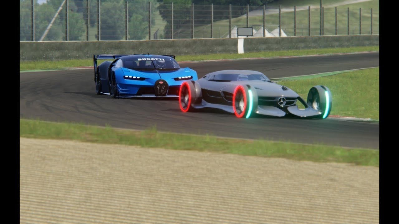 Battle Mercedes Benz Silver Arrow Concept Vs Bugatti Vision Gt At