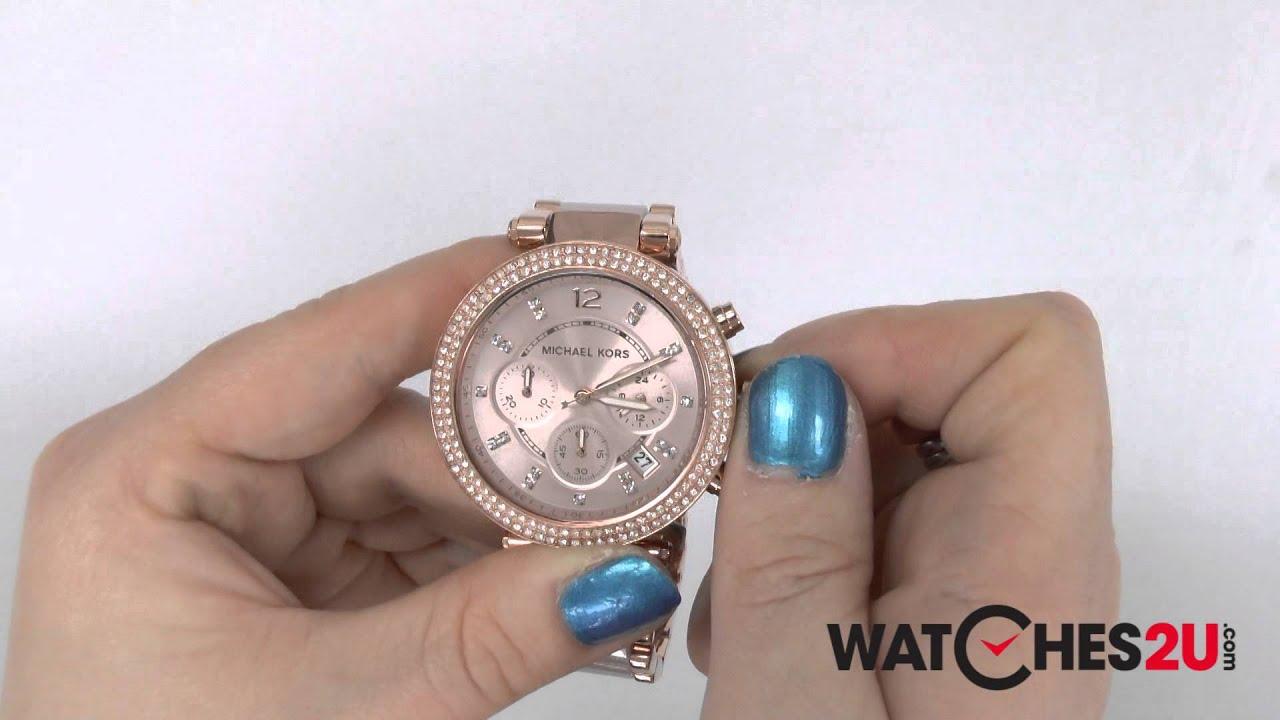 86b4fc038ac9 MK5896 Michael Kors Ladies Parker Rose Gold Chronograph Watch - YouTube
