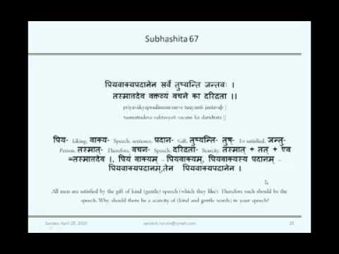 Sanskrit Subhashita Session 5 by Dr. Saroja Bhate on 25th April 2010