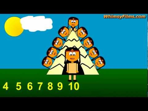 Counting Numbers 1 to 10, Ten Little Indians Nursery Rhyme Song for Children