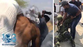 Pobladores desarman, retienen y exhiben a elementos del Ejército en Michoacán