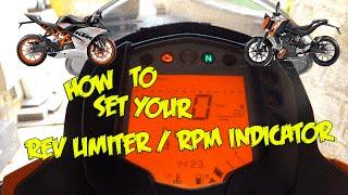 How to set your Rev Limiter/RPM Indicator   KTM Duke & RC 125/200/390