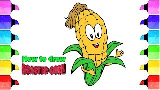Learn Draw and Color Roasted Corn Glitter Drawing and Coloring Learn Color | Drawing Extra