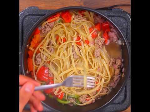 Tallarines Doria en salsa de Carne de res y Verduras