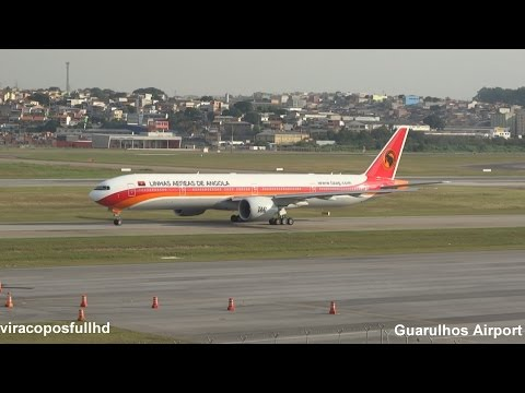 Landing, taxi and takeoff TAAG Angola Airlines B773 HD