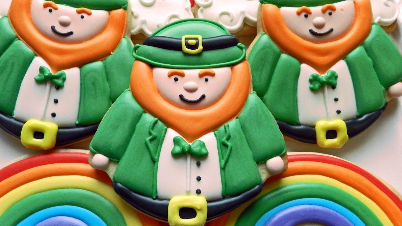 how to decorate leprechaun and rainbow cookies youtube