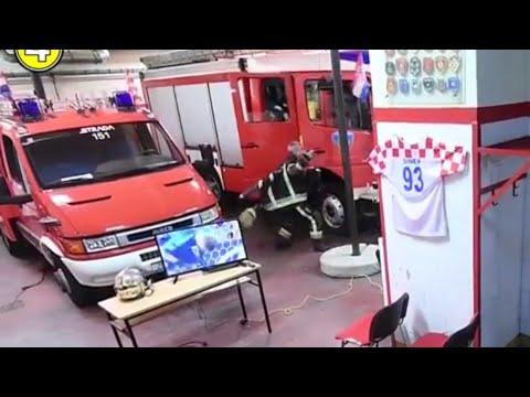 Duty calls Croatian firefighters while they were watching rakitic's winning penalty for Croatia!❤️?