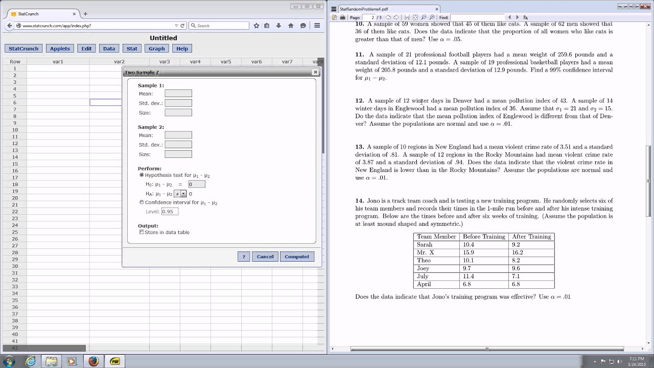 P Value And Test Statistic For A Two Sample Z Hypothesis Test In Statcrunch
