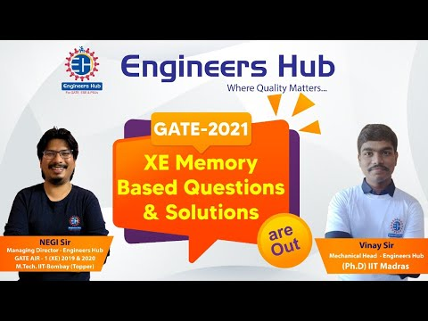GATE -2021 XE || COMPLETE  DETAILED SOLUTIONS || GATE AIR -1 (NEGI Sir) & Vinay sir