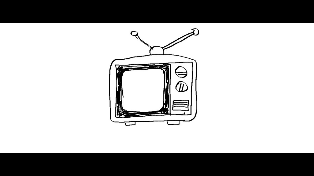 tv drawing. easy kids drawing lessons how to draw a cartoon tv tv