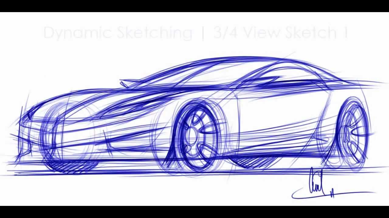 How to Draw Cars - Sketching a car in 3-4 View Vid 1 - YouTube