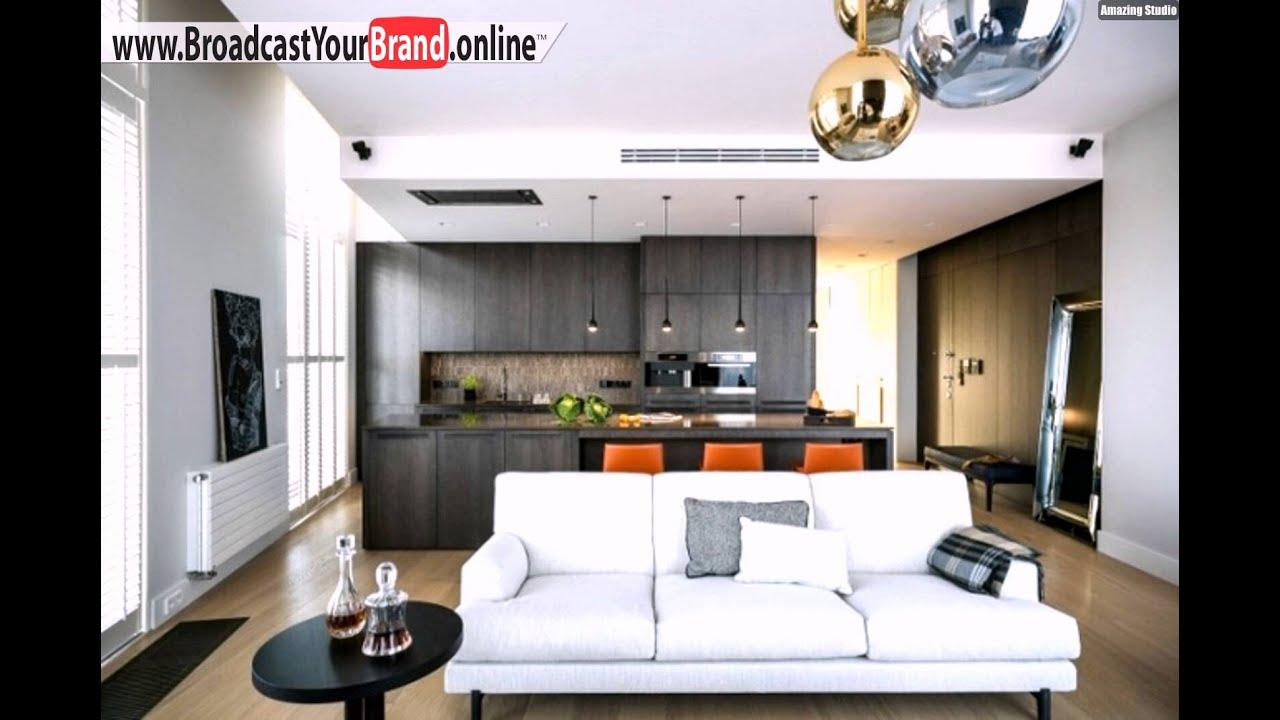 Wohnzimmer Küche Zusammen Holzküche Dunkel Weißes Sofa Orange Hocker - YouTube