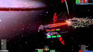 Sword of the Stars II Late Game Combat Footage Zuul Vs Swarm/System Killer