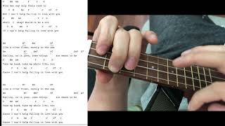 Can't help falling in love with you 3 beat Ukulele Tutorial Play along Sing Along