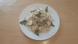 Салат с филе индейки и редиской