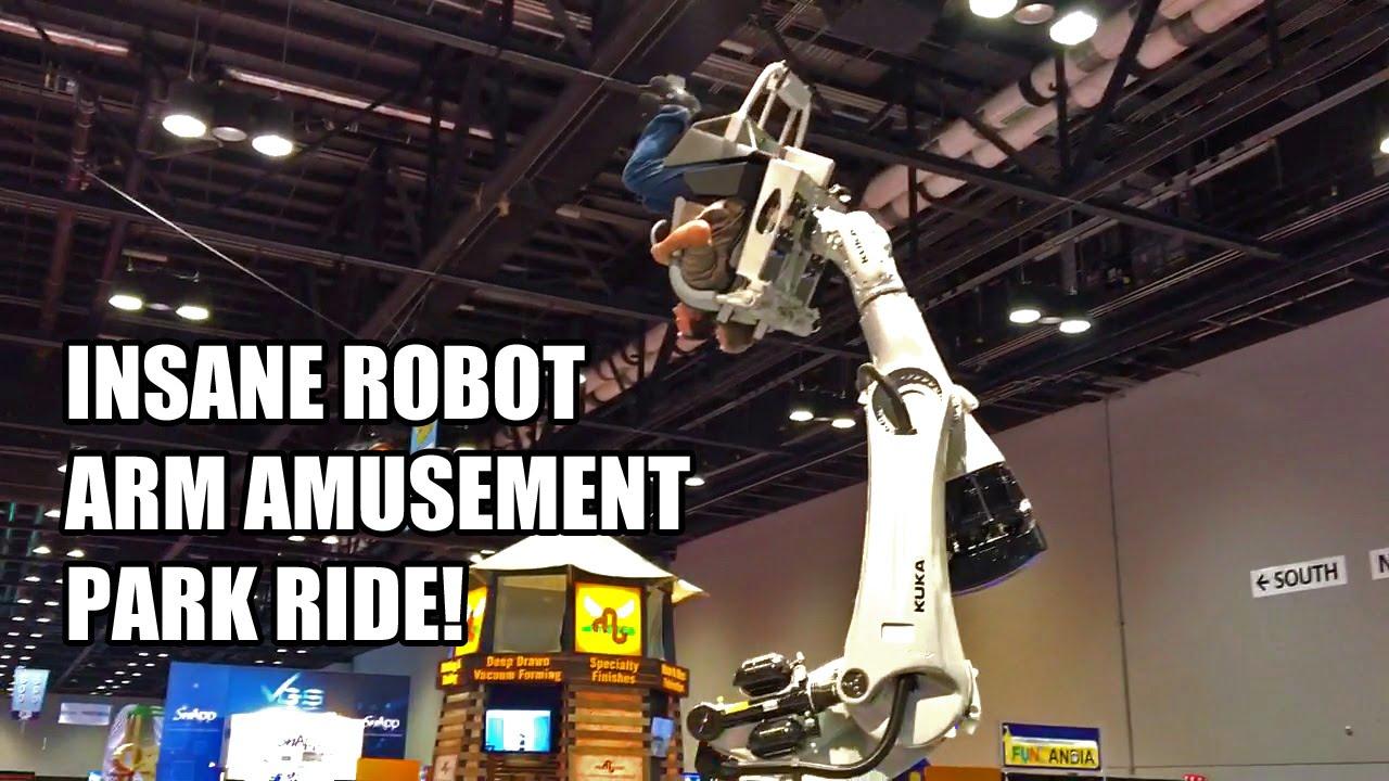 Kuka RoboCoaster Insane Amusement Park Ride POV from IAAPA 2015