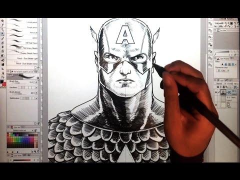 Drawing Captain America with Clip Studio Paint (Manga Studio 5) on a Wacom Cintiq