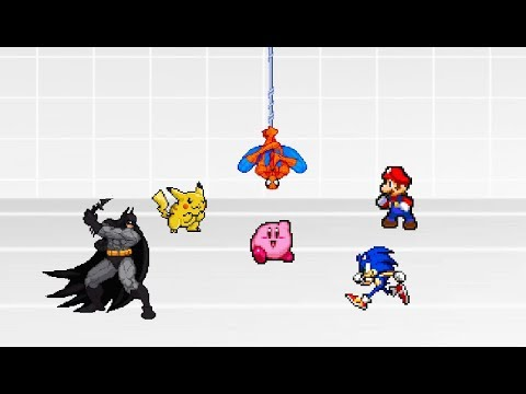 Battle Royale - Mario Vs Sonic Vs Kirby Vs Batman Vs Spiderman Vs Pikachu