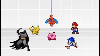 Battle Royale - Mario Vs Sonic Vs Kirby Vs Batman Vs Spiderman Vs Pikachu