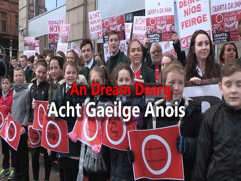 Protest for Irish language Equality held at DUP ministers of