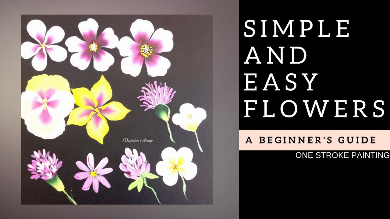 Quick And Easy Flowers Acrylic Painting For Beginners Diy