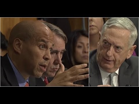 Download Youtube: Senator Booker has HEATED Debate with Secretary Mattis over authorization of military force by POTUS