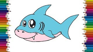 shark draw drawing easy step cartoon drawings simple htdraw earth