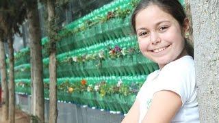 פעילות בית ספרית - הקמת קיר ירוק מבקבוקים