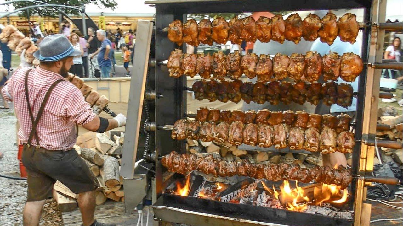 Huge Grills with Pork Shanks. Austria Street Food