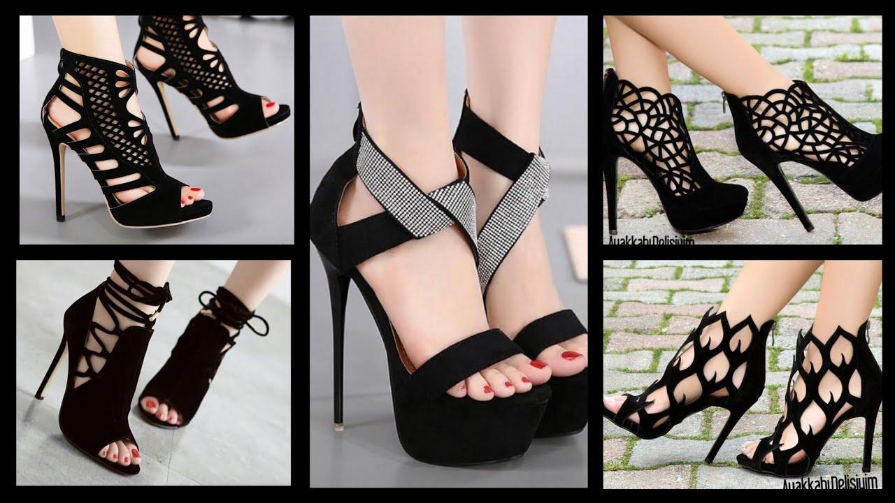 Gorgeous Black high heels shoes Designs
