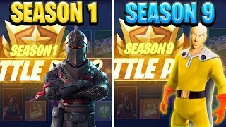 Evolution of the Fortnite Battle Pass Seasons 1 to Season 9!