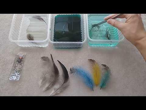 Как покрасить перья для поделок