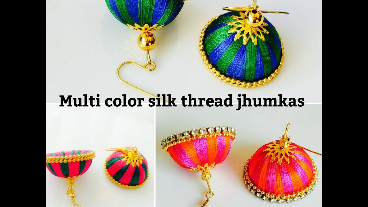 how to make thread jhumka earrings step by step