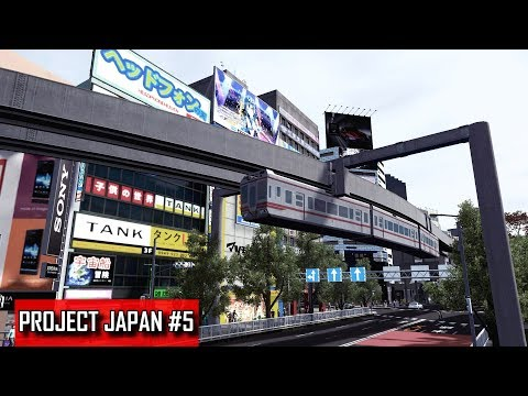 Cities: Skylines - PROJECT JAPAN #5 - Suspended monorail, first bus routes & central transport hub