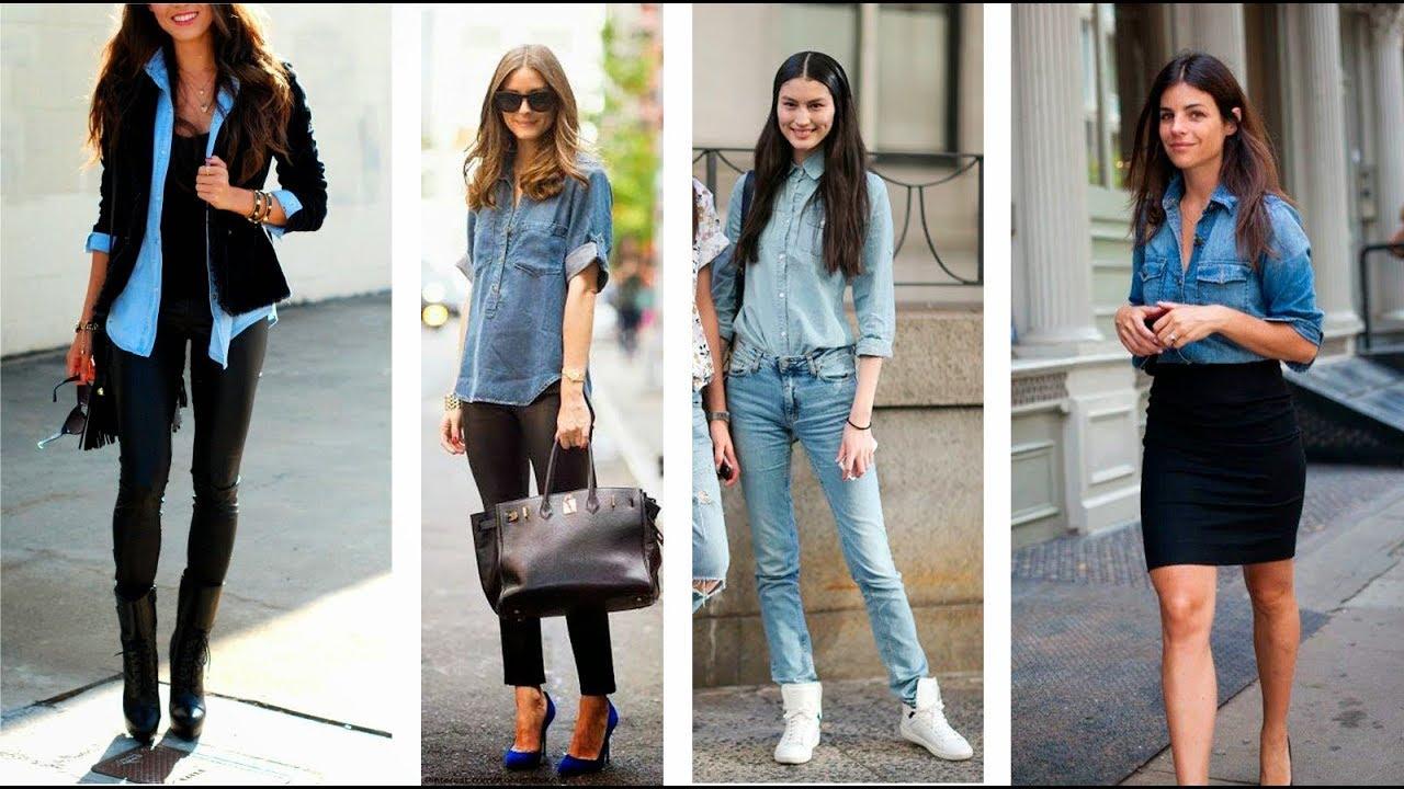 0b5dfd2747 Como combinar una blusa denim - Tendencias de Moda 2017 2018 - YouTube