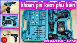 Máy khoan pin 12v kèm phụ kiện, máy khoan bắt vít 12V makita ✅ #SPTshop 185